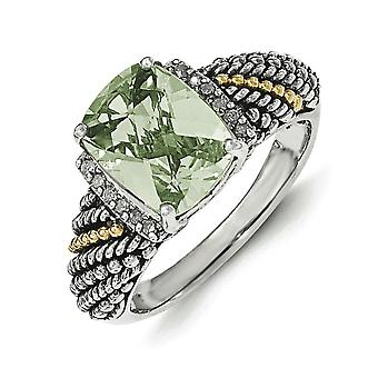 Sterling Silver With 14k Diamond and Green Quartz Ring - Ring Size: 6 to 8