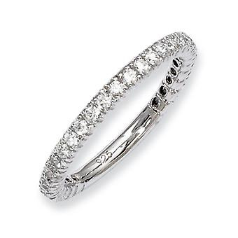 Sterling zilveren Rhodium Plated met CZ Ring - Ringmaat: 5 tot 8