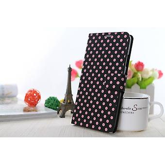 Cover cell phone case (flip cross) for mobile HTC one mini 2 black / pink