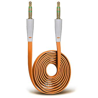 ONX3 (Orange) Huawei P10 Gold Plated 3.5mm Jack To Jack Connection Aux Auxiliary Audio Flat Cable