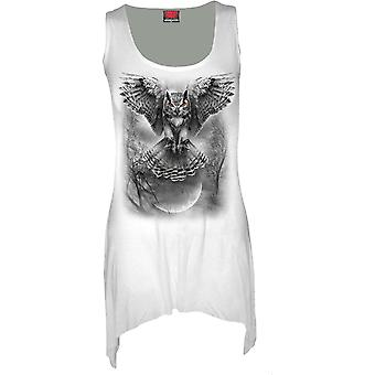 Spiral Direct Womens Wings Of Wisdom White Tank Vest Dress Owl Hunter Majestic