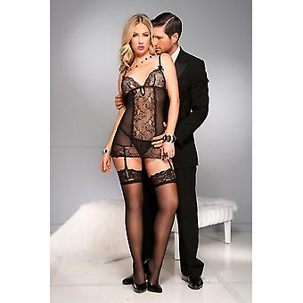 Transparent Suspender Dress With Lace And Bows-Black