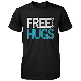Free Hugs Holiday Graphic Tees- Black Cotton T-shirt