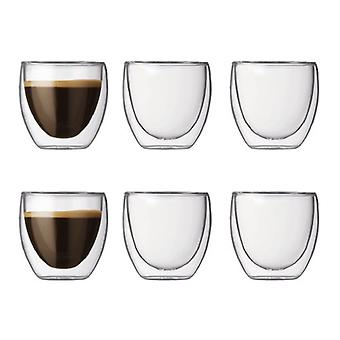 BODUM PAVINA vidrio Set (doble pared aislada 0,08 L/3 oz) - Pack de 6 transparente
