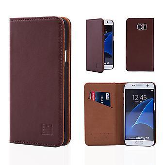 32nd classic ægte læder tegnebog til Samsung Galaxy S7 G930 - mørkebrun
