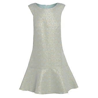 Minze-Jacquard-Kleid mit Schößchen Saum UK Größe 10