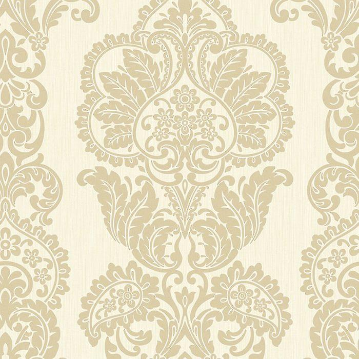 Fine Decor Rochester Damask Tattoo Cream Gold Glitter shimmer Wallpaper