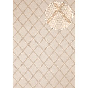 Graphic wallpaper Atlas PRI-560-4 non-woven wallpaper smooth with diamond pattern shimmering olive olive grey Pebble grey perl-beige 5.33 m2