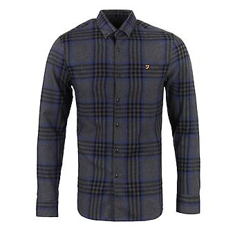 Farah-Port über Slim Fit Hemd Checked grau meliert