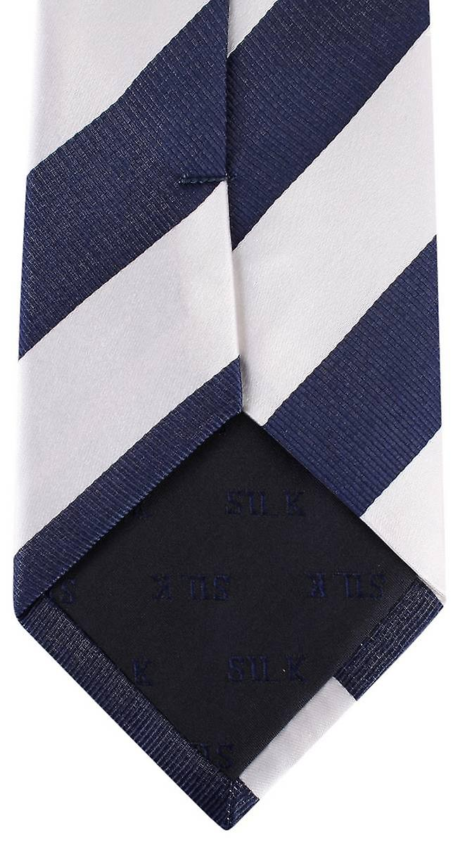 David Van Hagen Striped Tie - White/Navy