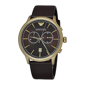 Emporio Armani AR1793 Alpha Brown Leather Strap Brown & Gold Dial Chronograph Watch
