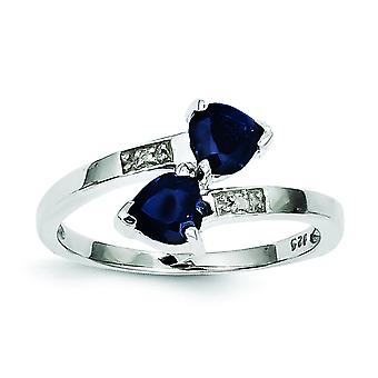 Sterling Silver Polished Open back Rhodium-plated Rhodium Dark Sapphire and Diamond Heart Ring - Ring Size: 6 to 8