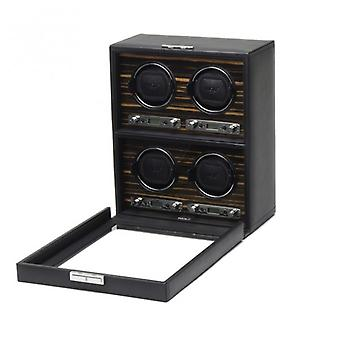 Wolf Designs Roadster Black Leather & Wood 4 Piece Watch Winder 2.7
