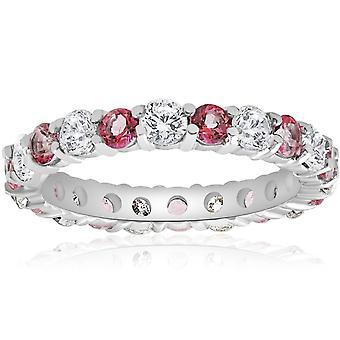 2 CT Diamond & Pink Topaz Eternity Ring 14K White Gold