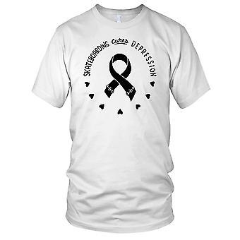 Skateboarden geneest depressie - B&W Skateboarder Skateboard dames T Shirt