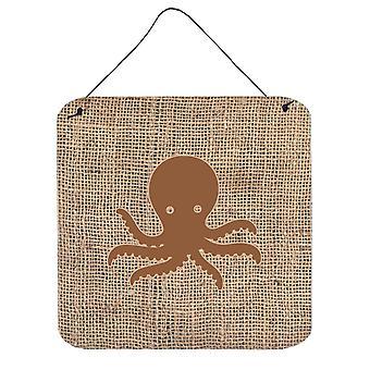 Octopus säckväv och brun Aluminium metall vägg eller dörr hängande utskrifter BB1090