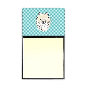 Checkerboard Blue Pomeranian Refiillable Sticky Note Holder or Postit Note Dispe
