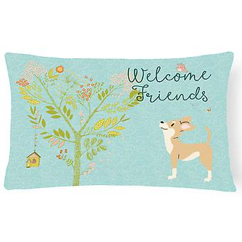 Welcome Friends Brown White Chihuahua Canvas Fabric Decorative Pillow