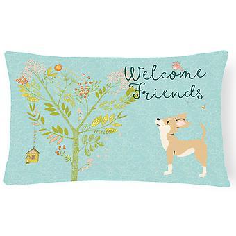 Willkommen Freunde braun weiße Chihuahua Canvas Stoff dekorative Kissen