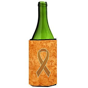 الشريط البرتقالي لسرطان الدم الوعي بزجاجة النبيذ المشروبات عازل نعالها