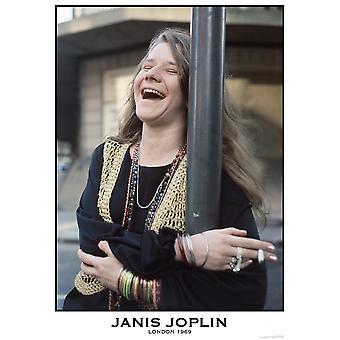 Janis Joplin riendo cartel Poster Print
