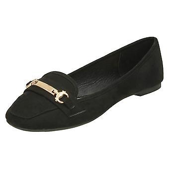 Ladies Spot On Saddle Vamp Loafers - Black Microfibre - UK Size 4 - EU Size 37 - US Size 6