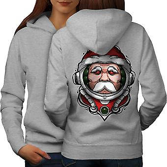 Santa Traveler Space Women GreyHoodie Back | Wellcoda