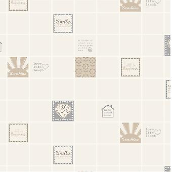 Tile Wallpaper Smile Tile Washable Vinyl Neutral Metallic Silver Gold Holden