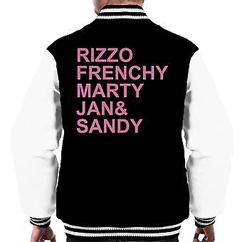 Grease Pink Ladies Character Text Men's Varsity Jacket