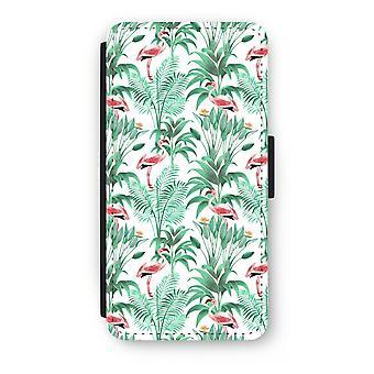 iPhone 8 Plus Flip Case - Flamingo leaves