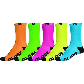 Globo Fluro 5 Pack Crew Socks - multicolore