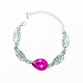 Silver and Hot Pink Teardrop Leaf Bracelet