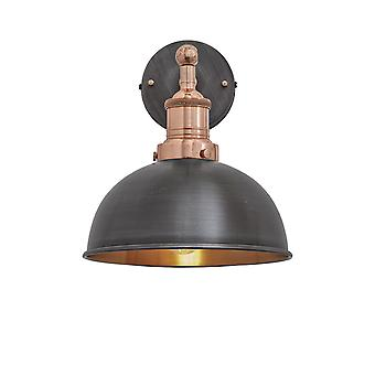 Brooklyn Vintage Antique Sconce Wall Lamp - Dome - Dark Pewter & Copper - 8