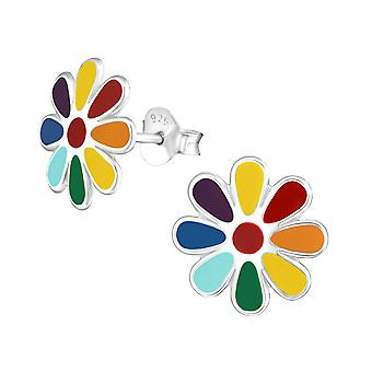 Flower - 925 Sterling Silver Colourful Ear Studs - W36594x
