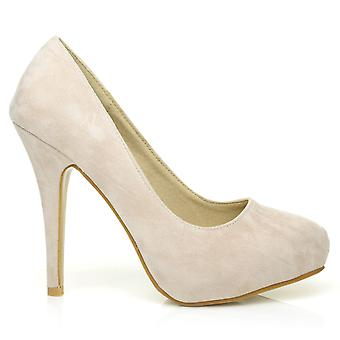 H251 Nude Faux Suede Stiletto High Heel Concealed Platform Court Shoes