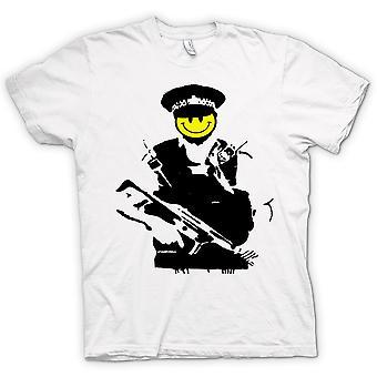 Womens T-shirt - Banksy - Happy Smiley - Copper - Graffiti