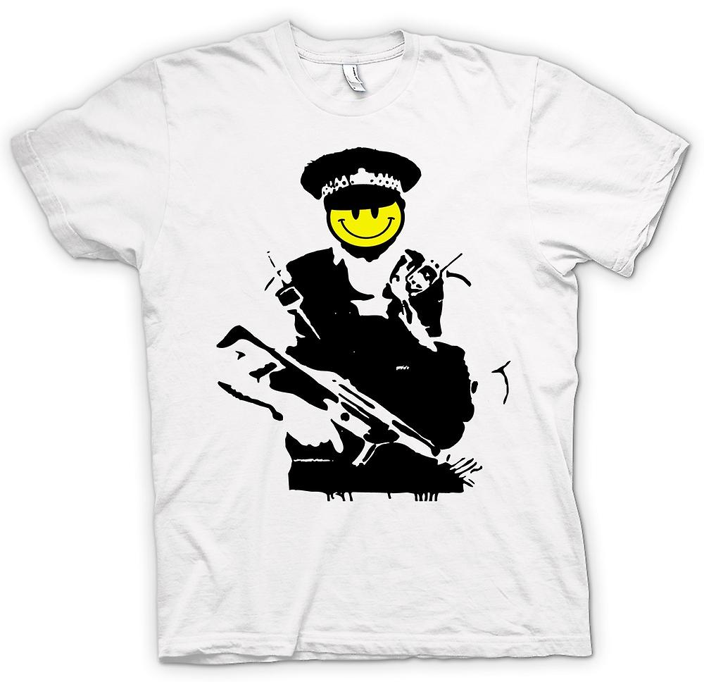 T-shirt - Banksy - Smiley felice - rame - Graffiti