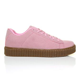 RIHANNA Pink Faux Suede Upper Beige Chunky Sole Lace Up Creeper Trainer