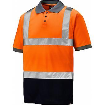 Dickies Mens Hi Visibility Two Tone Workwear Short Sleeve Polo Shirt
