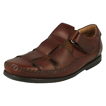 Mens Clarks Casual Strapped Sandals Un Gala Strap - Dark Tan Leather - UK Size 6.5G - EU Size 40 - US Size 7.5M