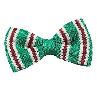 Grønn med Burgund & hvit tynn Stripe strikk strikket pre knyttet sløyfe
