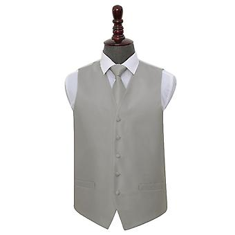 Silver Solid Check Wedding Waistcoat & Tie Set