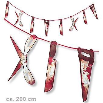 Bloody knives and tools Garland 180 cm Halloween decoration