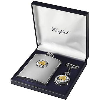 Woodford Shamrock 6oz Hip Flask and Pocket Watch Set - Silver