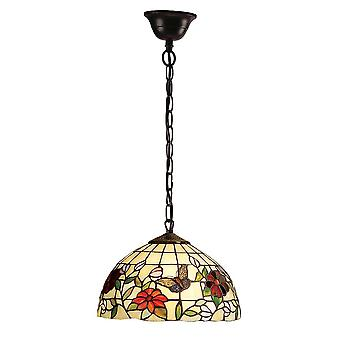 Interiors 1900 Butterfly Small Single Light Tiffany Ceiling Pendant