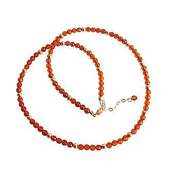 Gemshine - Damen - Halskette - Vergoldet - Bernstein - Gelb - Orange - 45 cm