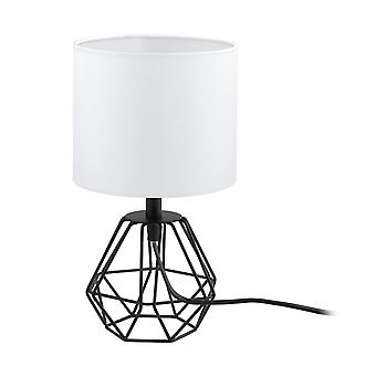 Eglo Carlton Black Wire Frame Caged Table Lamp And Shade