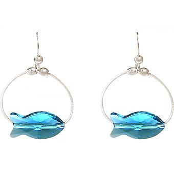 Ladies earrings 925 Silver fish blue MADE WITH SWAROVSKI ELEMENTS® 3 cm
