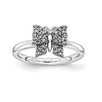 2,25 mm zilver Rhodium-plated Ruthenium plating en Balck basisstuk stapelbare expressies Diamond Butterfly Ring-