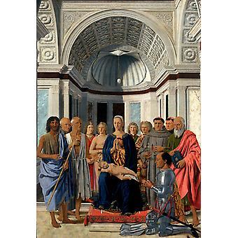 Madonna og barnet med hellige, Piero della Francesca, 40x60cm med bakke